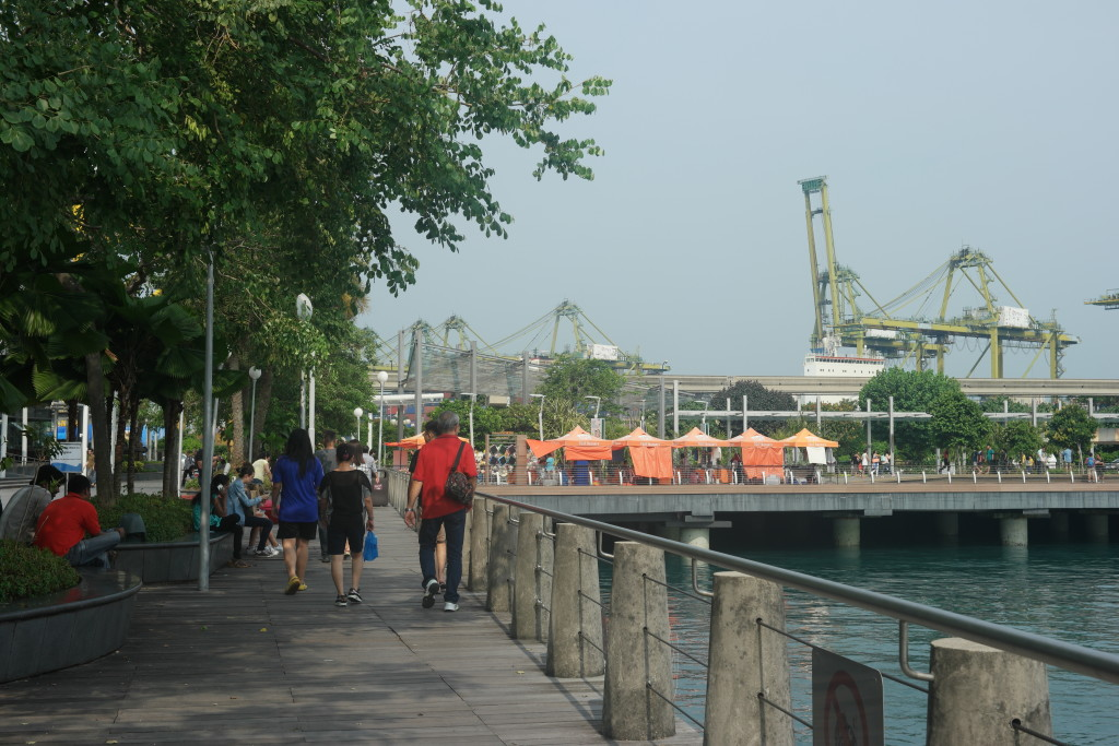 Heading to Sentosa Boardwalk