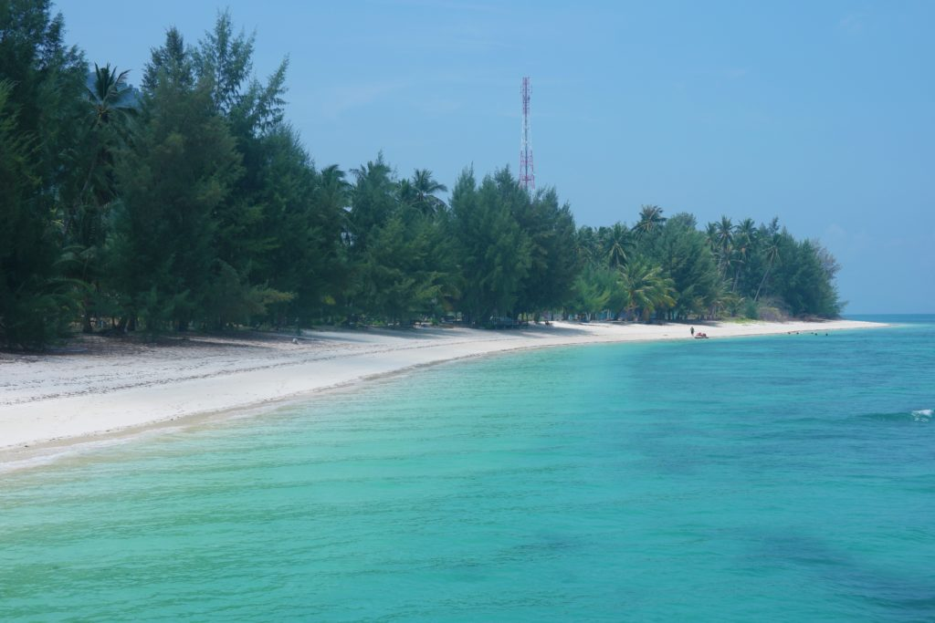 View of the beach from Pulau Besar jetty